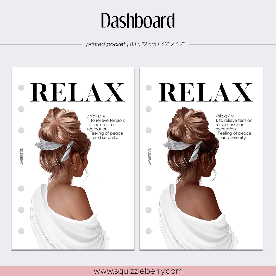 relax self care me time planner dashboard for pocket planner