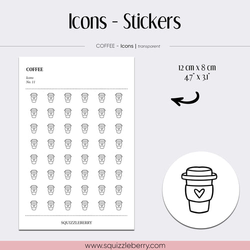 transparent icon minimal stickers coffee