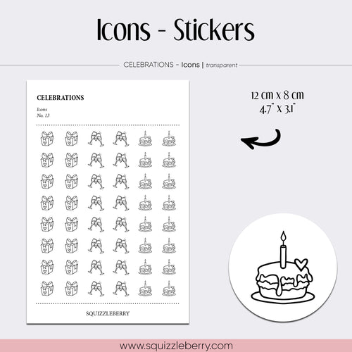 transparent icon minimal stickers celebrations gift champagne birthday cake