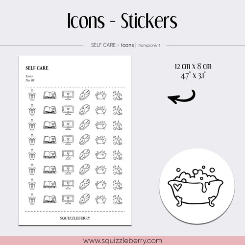 transparent icon minimal stickers bath nails reading tv sleep music