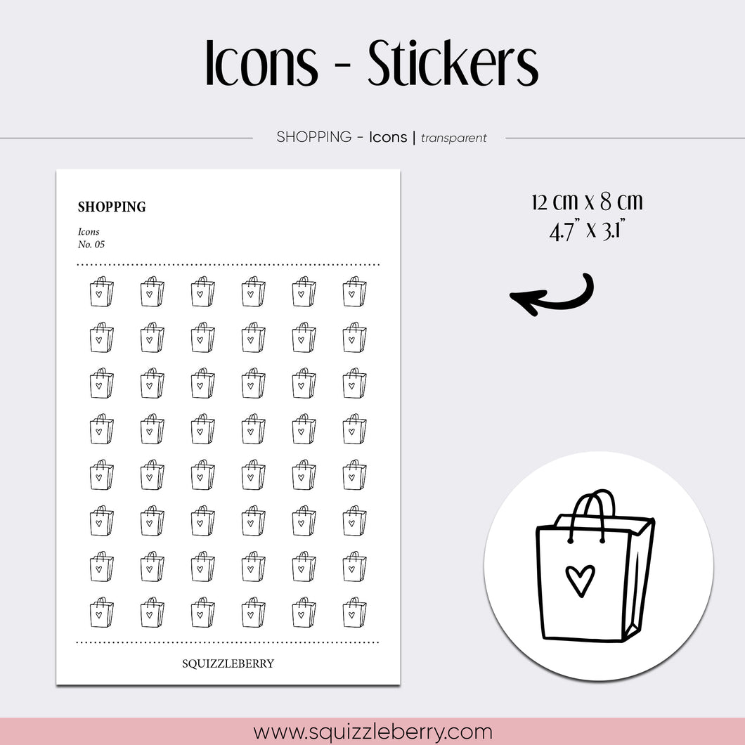 minimal icon stickers shopping