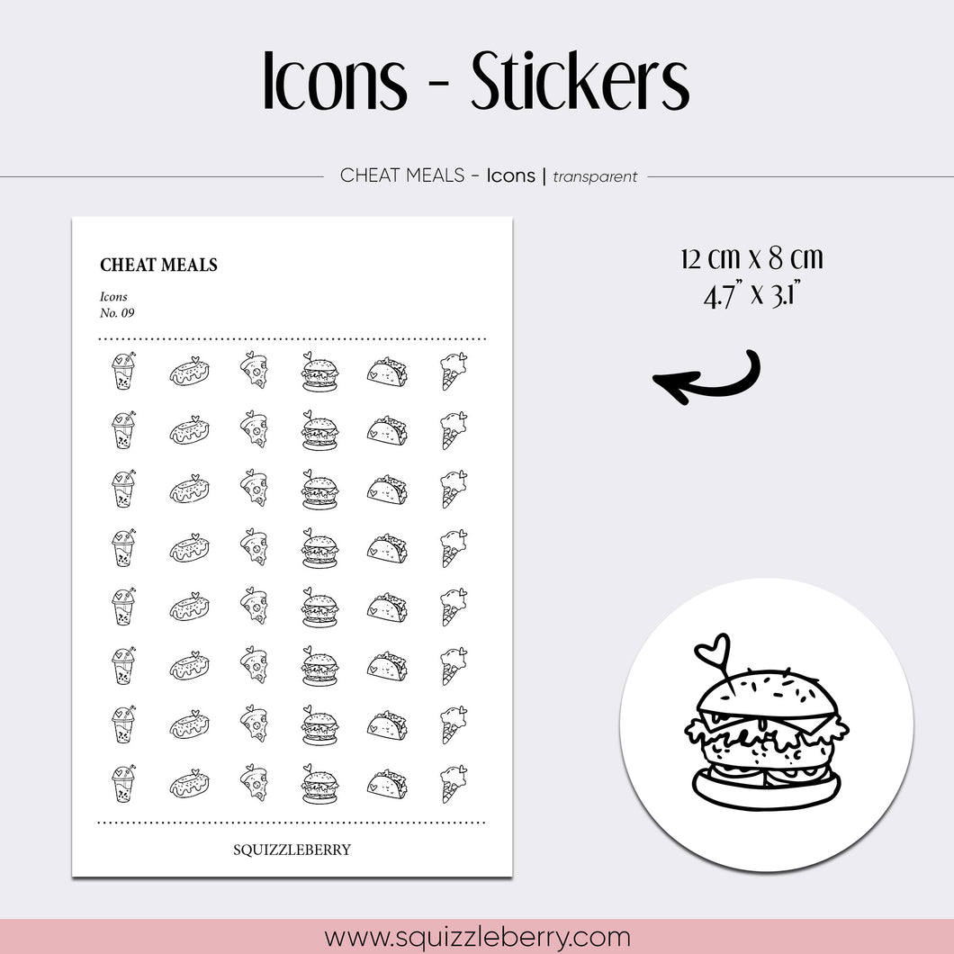 transparent icon minimal stickers cheat meals burger pizza