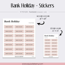 Load image into Gallery viewer, Bank Holiday - Stickers | SquizzleBerry