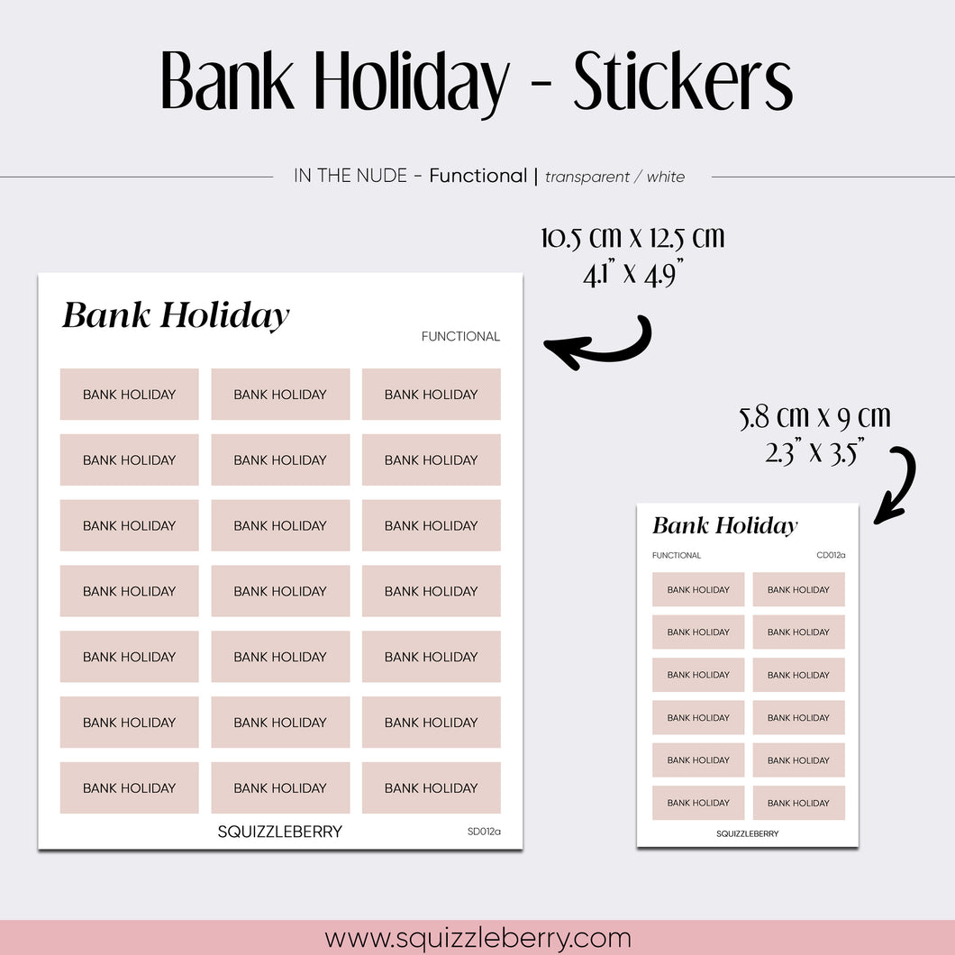 Bank Holiday - Stickers | SquizzleBerry