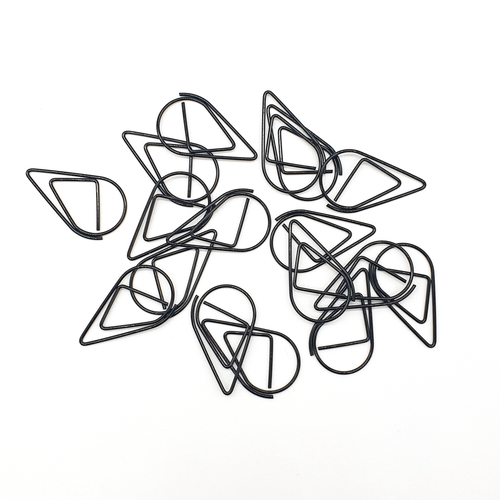 Black - Tear Drop - Paper Clips | SquizzleBerry