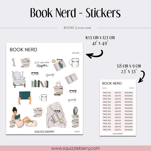 Book Nerd - Stickers | SquizzleBerry