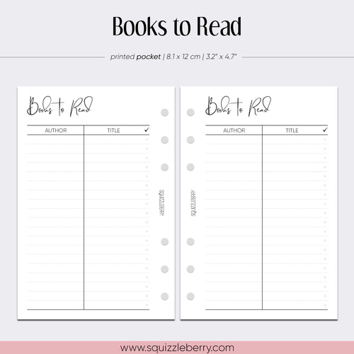 books to read pocket planner inserts