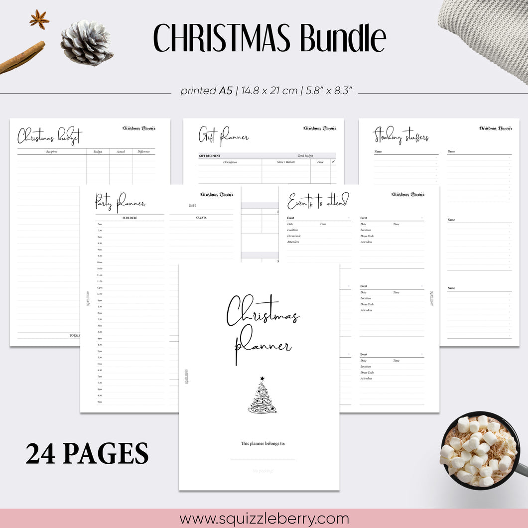 christmas planner bundle minimalist holiday planning a5