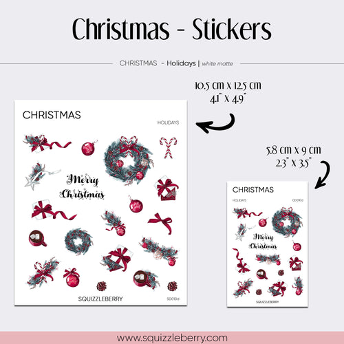 christmas planner stickers with poinsettia and wreath