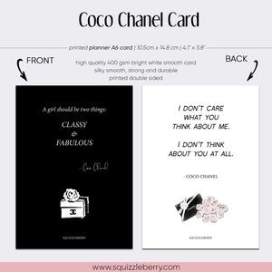 Coco Chanel A6 Card | SquizzleBerry