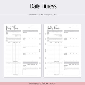 daily fitness planner with exercise and nutrition a5