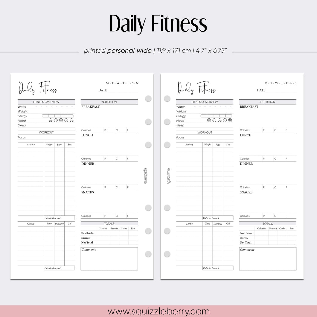 daily nutrition with macros and workout log personal wide planner