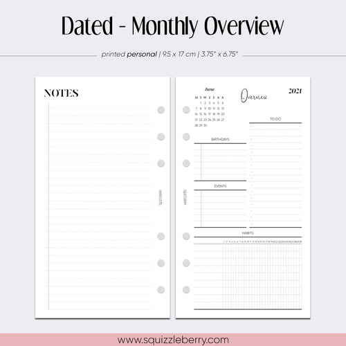 dated monthly overview personal planner inserts in minimalist style