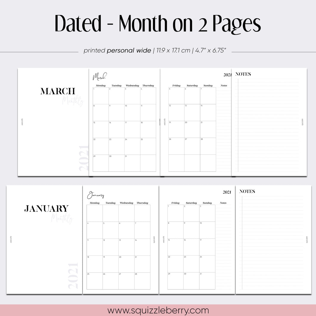 Dated - Month on 2 Pages - Personal Wide | SquizzleBerry