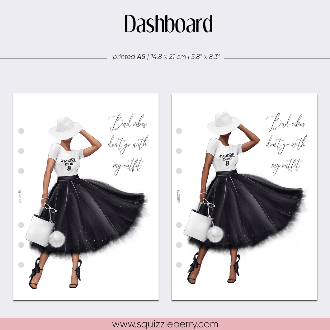 a5 planner dashboard with a quote and fashion glam girl