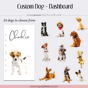 custom dog puppy planner dashboard in personal sized vellum