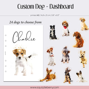 custom dog puppy planner dashboard in a5 vellum