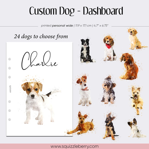 personalised watercolour dog dashboard for planning
