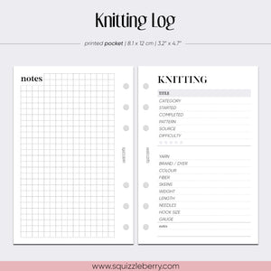 knitting log pocket sized planner insert