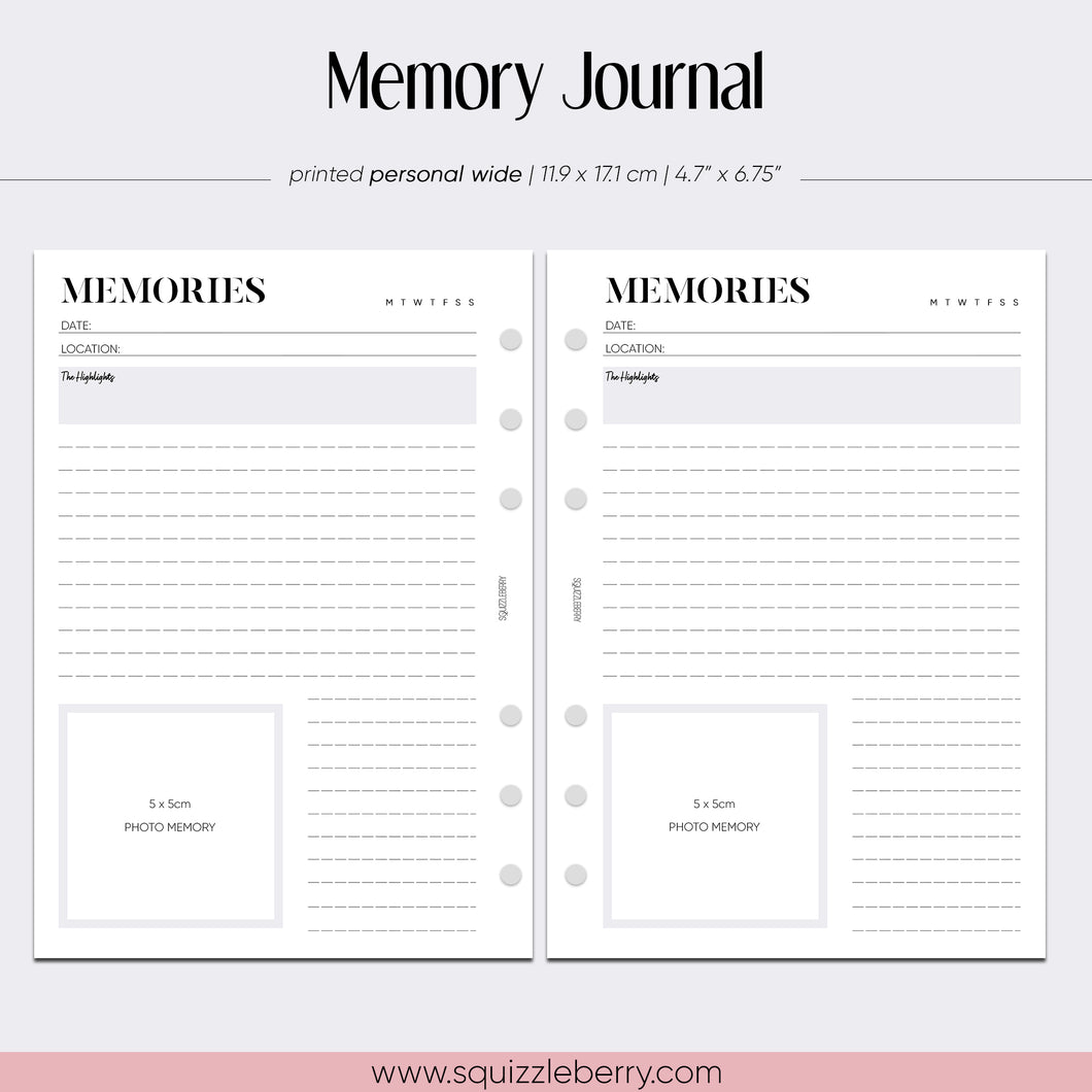 Memory Journal - Personal Wide