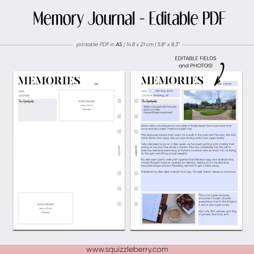 editable pdf memory keeping journal minimalist planner inserts in a5 size