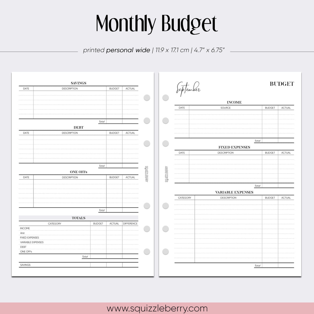 Monthly Budget - Personal Wide