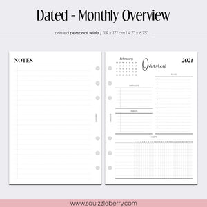 Dated - Monthly Overview - Personal Wide | SquizzleBerry