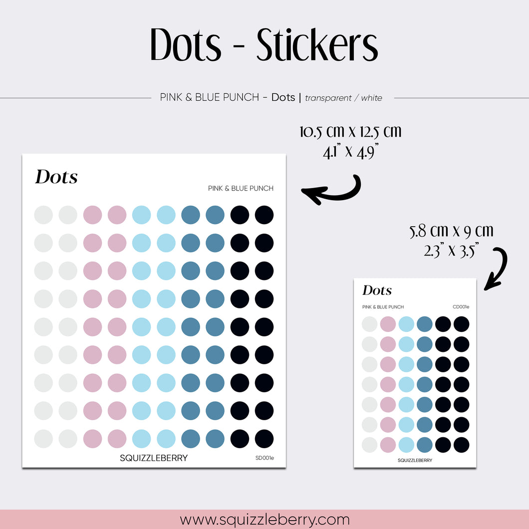 Pink & Blue Dots - Stickers