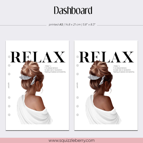 relax me time self care planner dashboard fashion girl