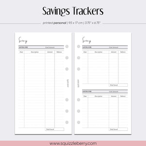 Savings Trackers - Personal | SquizzleBerry