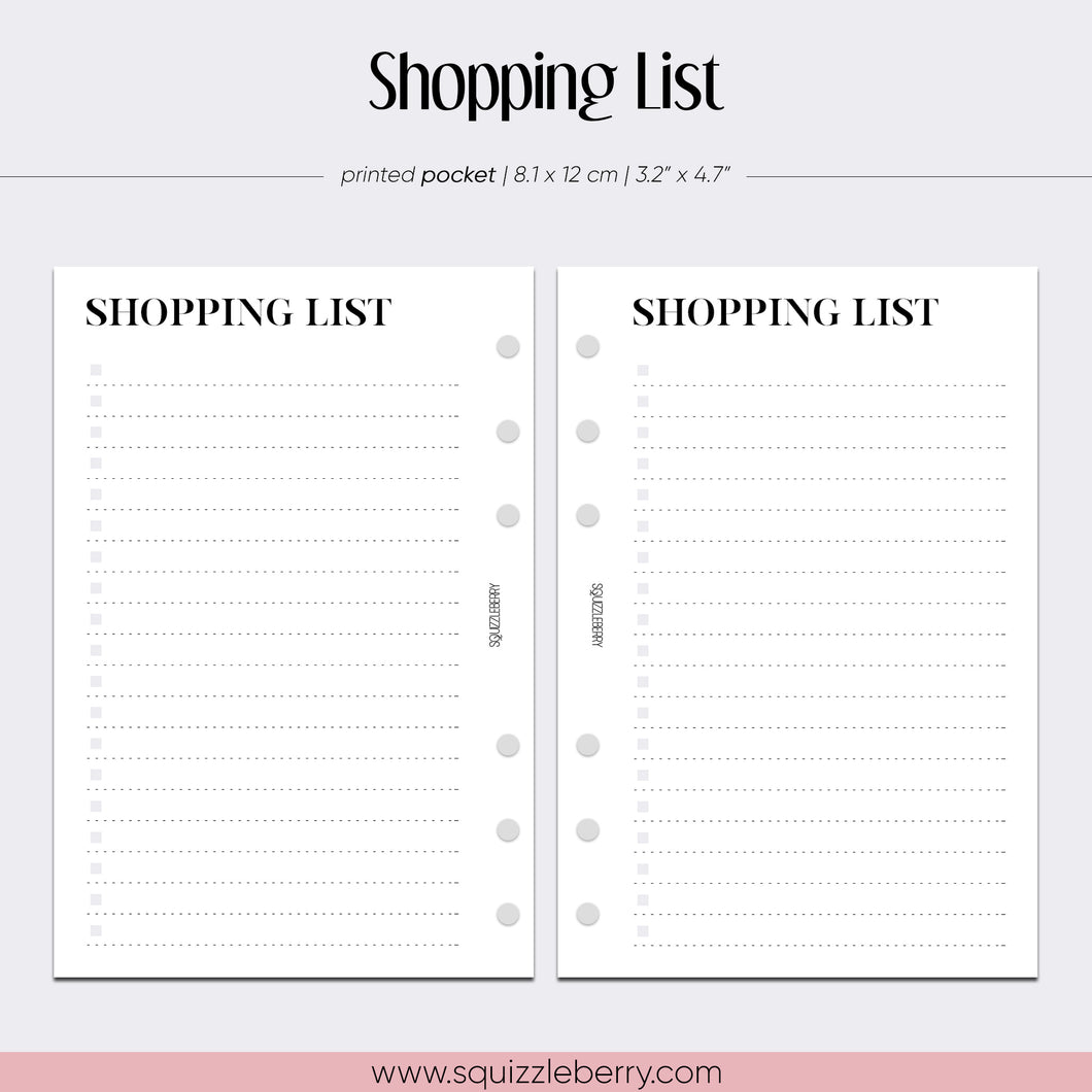 Shopping List - Pocket | SquizzleBerry