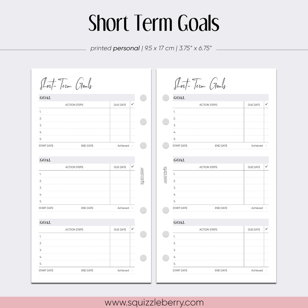 short term goals personal planner inserts