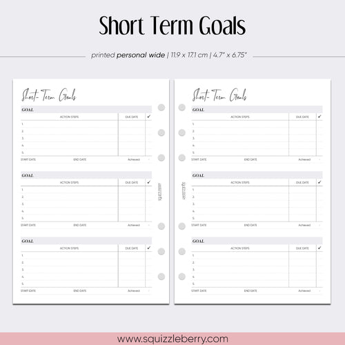 short term goals minimal personal wide planner insert