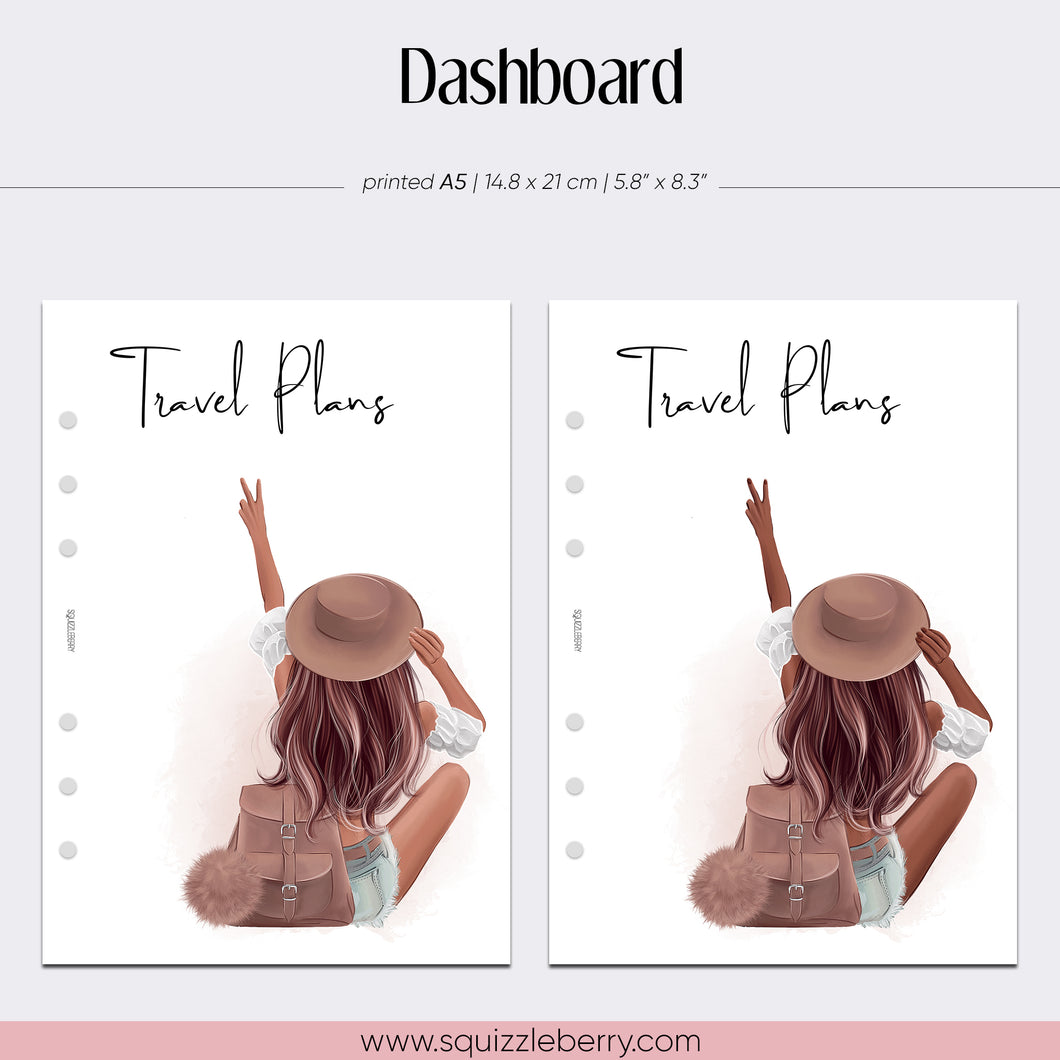 travel plans planner dashboard a5 with a young girl