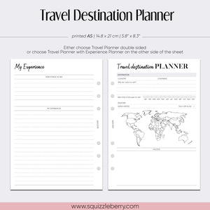 Travel Destination Planner with Dashboards - A5 | SquizzleBerry