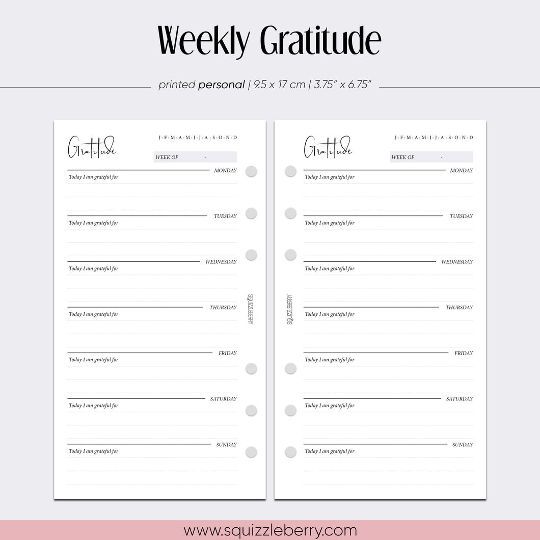 weekly gratitude journal personal inserts