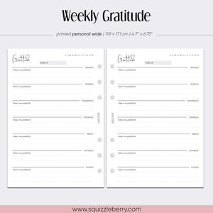 weekly gratitude journal personal wide planner inserts