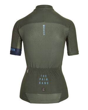 Queen Of The Mountain Jersey - Olive/Blue. Women's