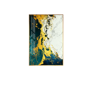 Abstract Golden Green Canvas Painting
