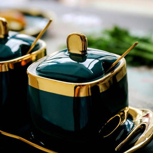 Luxury Emerald Ceramic Jar Set 4 pieces