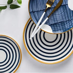 Blue and White Geometric Ceramic Plate Set - OYRISS