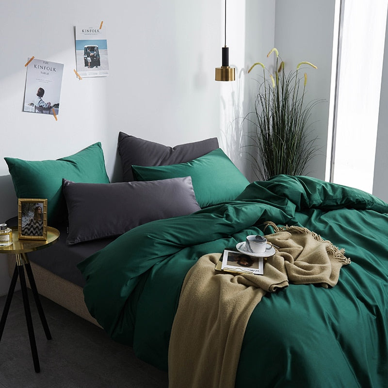 Green Silky Cotton Bedding Set - OYRISS