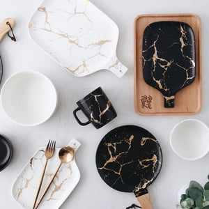 White and Black Marble Ceramic Cutting Board