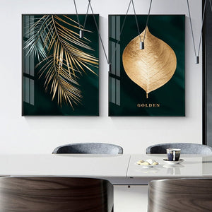 Abstract Golden Plant Leaves Painting - OYRISS