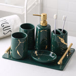 Green Marble Ceramic Bathroom Set with Tray - OYRISS