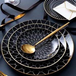 Black Ceramic Geometric Plate Set 2 pieces - OYRISS