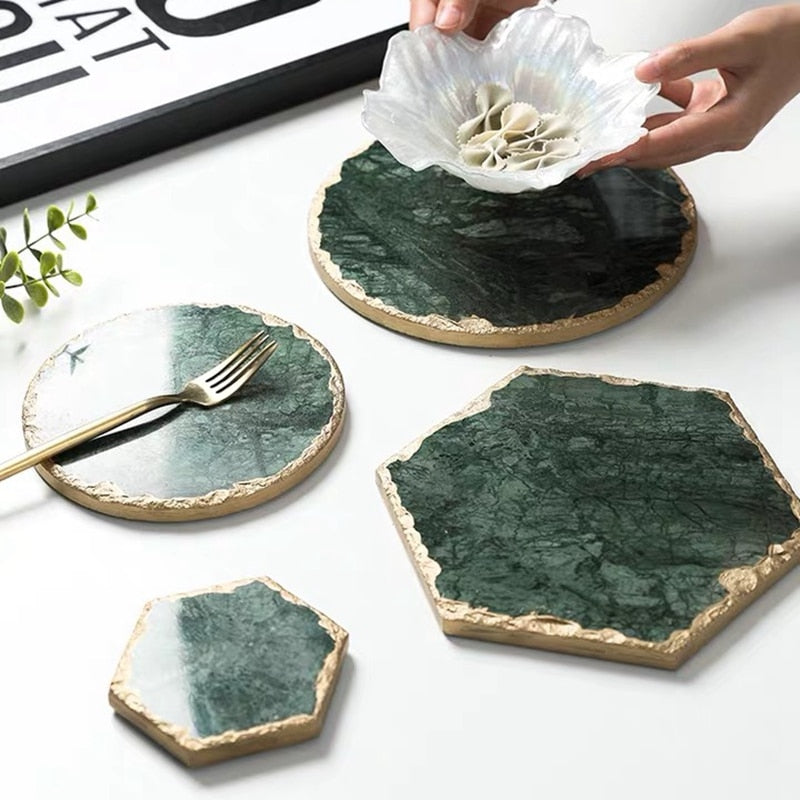 Luxury Emerald Real Marble Coaster - OYRISS
