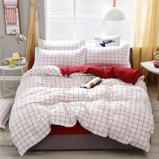 White and Red Plaid Bedding Set