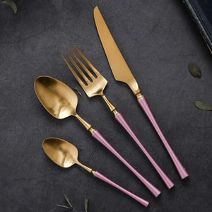 Pink Stainless Steel Cutlery Set 4 pieces - OYRISS