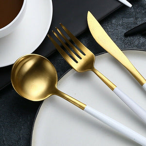 White Stainless Steel Cutlery Set 4 pieces - OYRISS